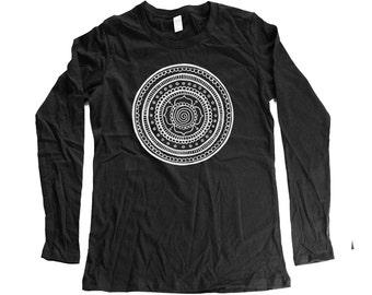 mandala - womens longsleeve mandala shirt - mandala long sleeve- organic clothing - cotton - small - medium- large - xl - 2XL
