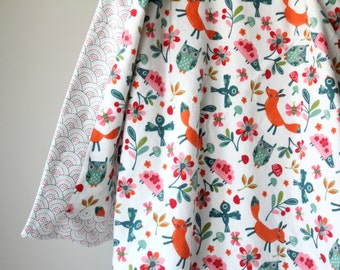 Modern Flannel Blanket, Owls, Foxes, Hedgehogs, Woodland Receiving Blanket, Baby Blanket, Flannel Receiving Blanket, Baby Girl, Handmade