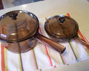 Choice of Vintage Vision Sauce Pans, Amber 1.5 Ltr, .5 Liter with Lids, USA