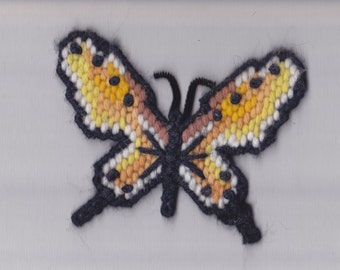 "Butterfly Magnet ~ Hand Made Plastic Canvas Yarn Butterfly Colorful Winged Refrigerator Magnet  ~ 4 1/2"" Across  ~ 3  3/4"" High ~"