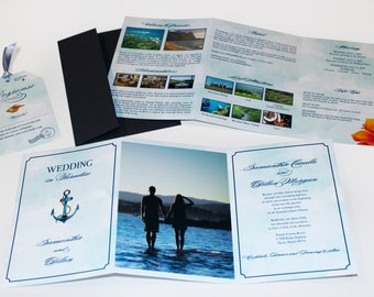 Destination Wedding Trifold Invitation with Luggage Tag RSVP - Nautical / Beach Tropical Design