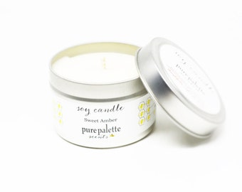 Soy Candle Sweet Amber -Travel Tin Candle -  / 4 oz. Scented Candle