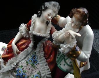 Dresden Couple Figurine, Collectible Porcelain Figurine, Porcelain Lace, Vintage Figurine
