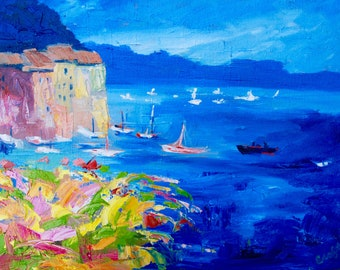 Modern Impressionist Palette Knife Original Oil Painting of the Amalfi Coast Italy by Rebecca Croft