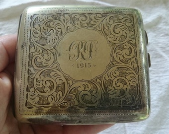 Antique Silver Plated Cigarette or Card Case Engraved 1915