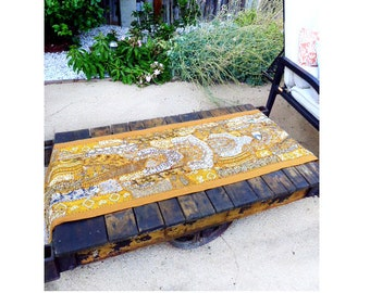 """Vintage 1970's Indian, India, Hand Embroidered and Beaded patchwork, Mustard and Golden Yellow Table Runner 19"""" X 73"""""""