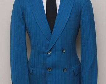 1970s men's blue stripe double breasted blazer/ 70s men's blue stripe blazer/ Custom