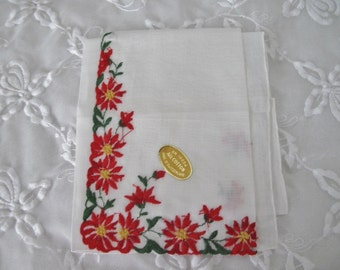 Vintage Christmas Handkerchief, Ladies Cotton Linen Holiday Hankie with Embroidered Red Poinsettias on White, ECS, FREE Shipping