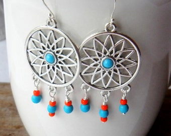 Turquoise blue and orange chandelier earrings, Bohemian, Boho, Gypsy, summery earrings, beachy earrings, Bright earrings, Handmade earrings