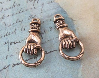 Hand charm -Connectors -  Antique Gold - Hand holding ring charm or Door knocker charm - jewelry finding - 1 pair
