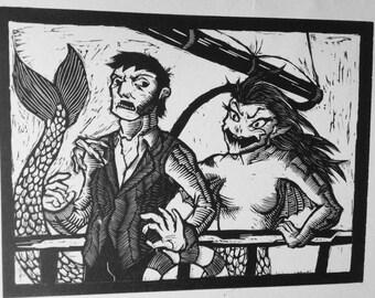 Mermaid Linocut Print