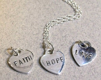 "Personalized Silver Heart stamped ""FAITH"", ""HOPE"", ""LOVE"" Sterling Silver Necklace"