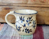 Blueberry decorated handmade pottery coffee cup - 16 oz - ceramic coffee mug - handpainted in blueberry tea cup - pottery mug - mbb2616