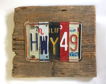 HWY 49 license plate sign tomboyART art recycled upcycled juke joint Mississippi blues HWY 61
