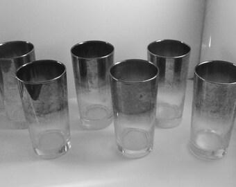 Silver Fade Ombre Tall Glasses Set of 6 Hi Ball Lustre