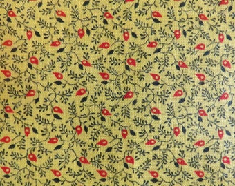 Vintage Calico Leaf Cotton Print Fabric 2 yards Small Scale Yellow Red Black