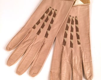 Vintage 20s Art Deco Gloves, Embroidered, Cuffed, Snap, Camel, Tan, Cream, Brown, 8 Medium, Made in France, Soft Leather, Geometric, Flapper