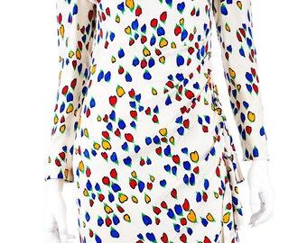CH by Carolina Hererra Vintage 80's Silk Floral Dress - Size 6