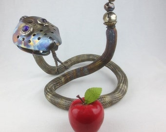 The Amazing Rattling Asp Metal Snake Sculpture Re purposed Art