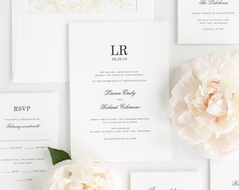 Timeless Monogram Wedding Invitations - Deposit