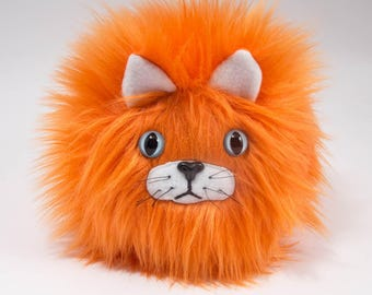 Catball -- furry cat handmade stuffed animal -- custom plush in vibrant orange faux fur