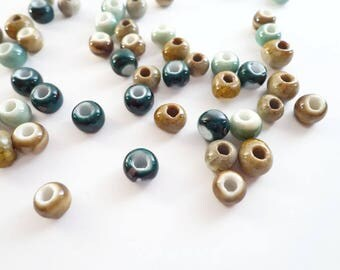 50 Assorted Two-toned Handmade Ceramic Loose Beads - Beads for jewelry making, diy bracelets, jewelry supplies