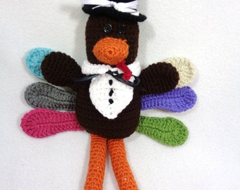 Stuffed Turkey, Crocheted Thanksgiving Decoration, Mr. Turkey, Holiday Decor, Hostess Gift, Fall Shelf Decoration, Crochet Turkey