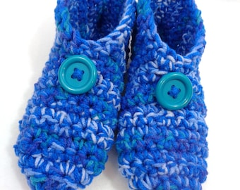 Crochet Slippers in Shades of Blue with Buttons Size Medium, Womens Houseshoes ~Gift for Grandma ~Traditional Slippers ~Warm and Cozy Socks