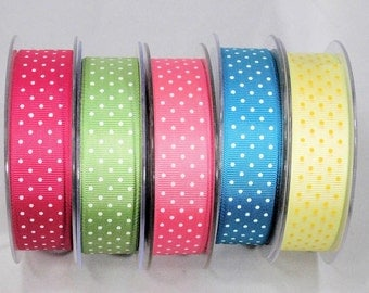 Dot Grosgrain Ribbon printed 2 sides REVERSIBLE ribbon Washable Woven Edge Made in England: Easter craft, hair bows, food party favor gift