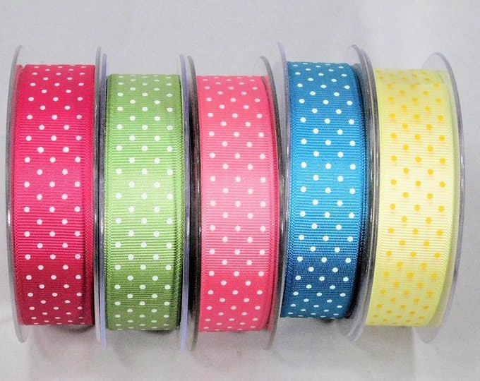 Dot Grosgrain Ribbon, many colors, printed both sides of REVERSIBLE ribbon, 1 inch width x 5 yds, Washable Woven Edge, Made in England