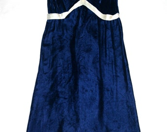 Perfect Vintage 60's Royal Blue Velvet Party Dress- Size 2 US