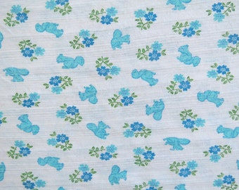"""Vintage Tube Knit Fabric - Blue Squirrels  - 2 1/4 yards x 60"""" circumference"""