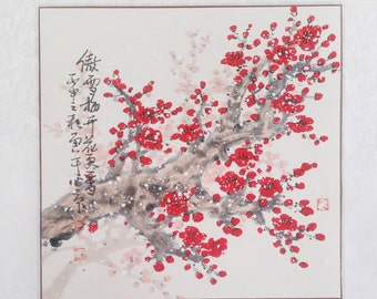 Red Cherry Blossom painting Original chinese painting oriental art watercolour floral painting flower painting
