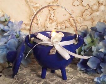 House Blessing Candle, Cast Iron Cauldron Candle, House Blessing  Cauldron Candle, Blue Cauldron, Hand poured