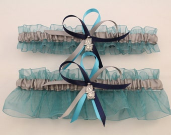 Wedding Garter with Seattle Mariners Theme-(Your Choice: single or set)
