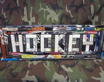 3' Hockey Sign Made From Hockey Sticks