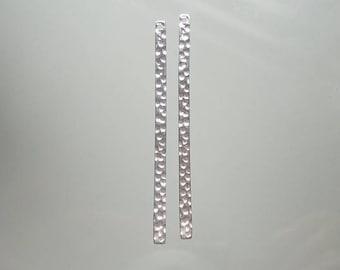 2,5,10,20 pcs, 40x2mmmm, 20.5 gauge, 925 Sterling Silver Hammered long skinny Bar Pendant, Earrings Finding, stamping Bar, PC-0193