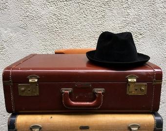 Mid Century Leather Suitcase - Bellevue - top grain cowhide - with keys