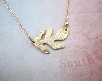Nature Inspired Necklace -- Metal Leaf Necklace -- Versatile Necklace -- Gold Sideways Necklace -- Horizontal Gold Necklace -- Gold Goddess