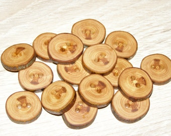 "16 Handmade apple wood Tree Branch Buttons with Bark, accessories (0,91"" diameter x 0,20"" thick)"