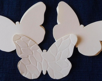 Large Butterfly Tags, Earring Cards, Gift Tags, Embossed, Plain, Vanilla Card Stock by Stampin' Up! Hand stamped if desired. 12 +