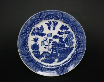 vintage blue willow dinner plates made in japan set of two