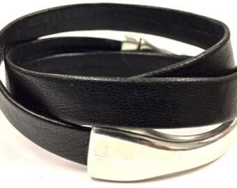 FLASH SALE  - Boho Leather Wrap Bracelet, Black Triple Wrap Leather, Gift for Her, Black, Flat Folded Leather, Magnetic Clasp