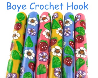 Crochet Hook, Polymer Clay Covered Boye Crochet Hooks, Custom Crochet Needle, Strawberries and Flowers