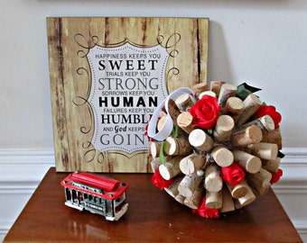 Wine Cork Kissing Ball -Red Roses and Green Ivy - Wedding, Table Display, Spring, Summer, Home Decor