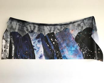 Large Jersey Scarf in Mountain Top Hand dyed and Printed