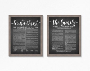 LDS The Living Christ and Family Proclamation Printable-Chalkboard Style-Choose your Sizes-Digital Files