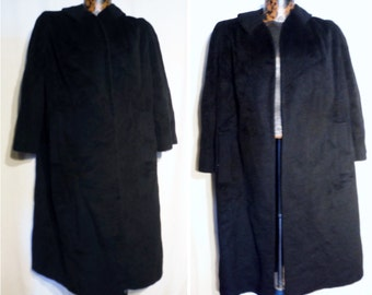 Vintage 70s Regency Style Ltd Black soft Baby Llama Wrap Around Coat  - Womens XL or Mens Large