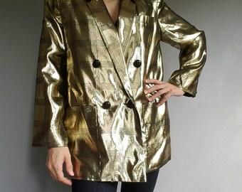 Vintage GOLD Liquid Metallic Plaid JACKET 80s (m)