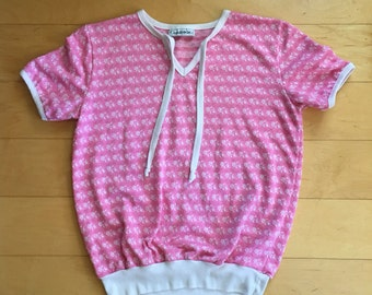 Vintage pink cotton blouse womens short sleeve shirt